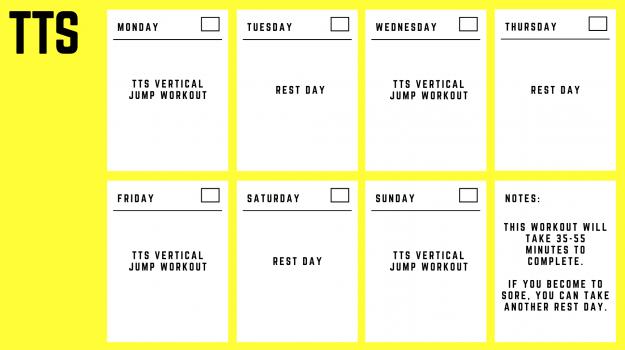 Twice The Speed Vertical Jump Calendar